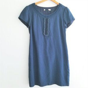 Boden Silk Blend Navy Dress Rhinestones Size 8R
